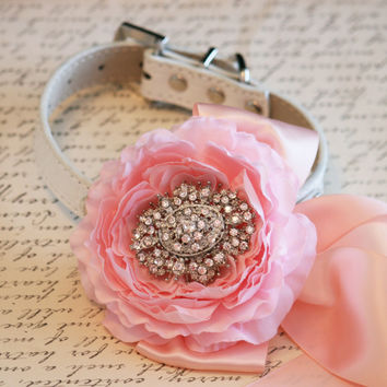 Pink Peonies Floral Dog Collar, Vintage wedding, Pet Wedding Accessory, Pink and Blush wedding