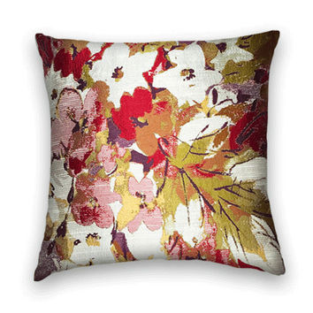 Robert Allen Woven  Pillow Cover-- 20 x 20  Watercolor Abstract Throw Pillow-- Red, Green, Pink, Green, Yellow, Cream