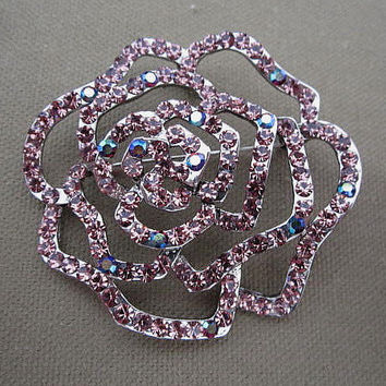 Large Lavender AB Rhinestone Rose Flower Brooch or Pendant