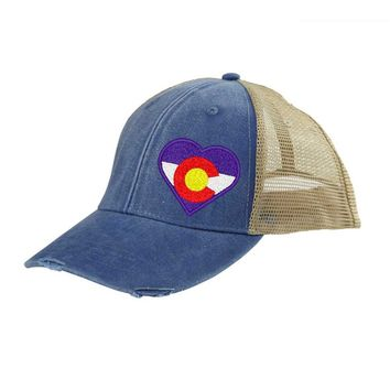 Heart Colorado Flag Trucker Hat - Royal Blue Distressed Snapback