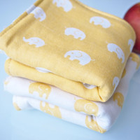 Set of 2 Double Gauze and Organic Terry Hand Towels / Wash Cloths - Yellow Elephants