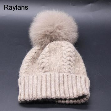 Raylans Lady Cashmere Blend Knit Wool Hat Women Fox Fur Pompom Hairy Ball Warm Casual Beanies Caps