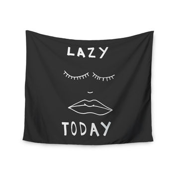 "Vasare Nar ""Lazy Today Grey"" Typography Gray Wall Tapestry"