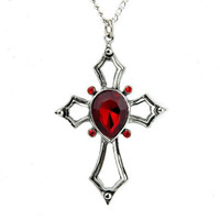 Gothic Red Heart Holy Cross Necklace Swarovski Vampire Pendant Jewelry