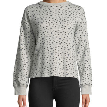 Current/Elliott The Slouchy Crewneck Star-Pattern Crop Sweatshirt