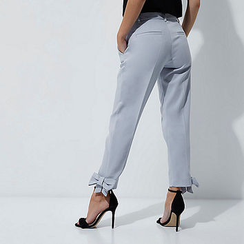 Petite light blue bow hem trousers - Tapered Trousers - Trousers - women