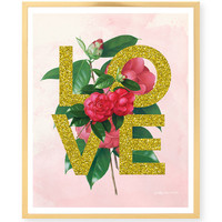 Spring Love Art Print - Love - Botanical Flowers - Gold Glitter - Spring - Valentine - Blush Watercolor