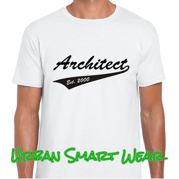 Achitect. Black or White T Shirt with Choice of Graphic Design Colors. ( Profession Professional Civil Engineer ) 10026