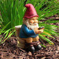 """Cody the Gnome Reading Phone on the Throne - 9.5"""" Tall"""