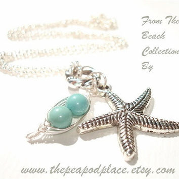 Starfish charm necklace with 2 peas in a pod pick your colors - best friends - sweet pea - beach jewelry