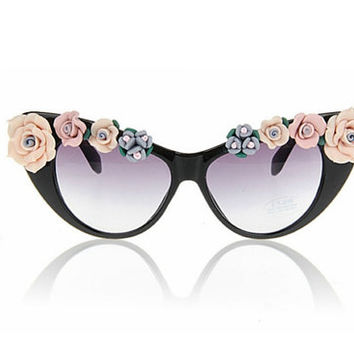 Black Artistic Handmaded Floral Pearl Cat Sun/Eyeglass