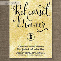 Black & Gold Rehearsal Dinner Invitation Antique Shabby Chic Gold and Black Wedding Rehearsal Script Printable Digital or Printed- Mila
