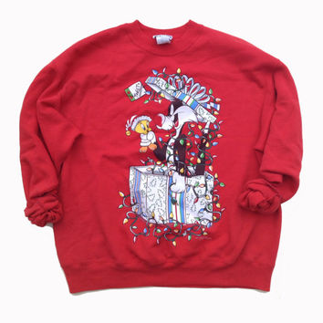 90s Ugly Christmas Sweater - Looney Tunes Tweety and Sylvester Red Crewneck Sweatshirt - Xmas Sweater
