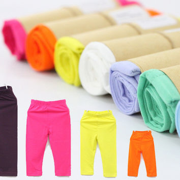 10 pcs/lot Brand high quality girls leggings 100% cotton solid pants for baby and children in 2-8 years free shipping
