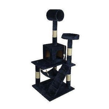 "Navy Blue 55"" Cat Tree Tower Condo Scratcher Furniture Kitten House Hammock 90"