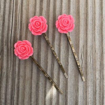 Pink Flower Bobby Pin Set of Three - Three Pink Flower Bobby Pins