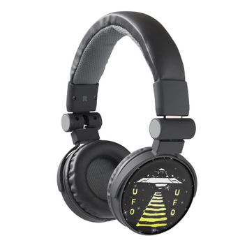 U.F.0-Black White Yellow on a Space Background Headphones
