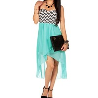Mint Chevron Hi Lo Dress