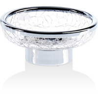 DWBA Crackled Glass Free Standing Round Soap Dish Holder Tray Soap Holder