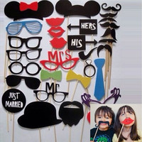 31Pcs Wedding Photo Booth  Costume Props Picture Frame Dress Up Mask Hen Party Game [7982966727]