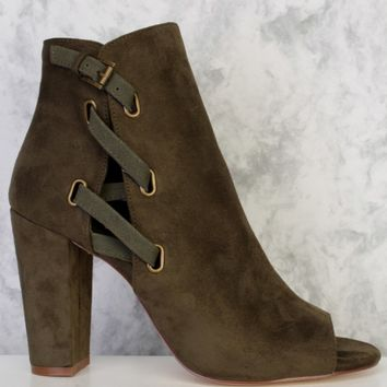 Olive Side Lace Buckle Detailing Peep Toe Single Sole Chunky Heel Booties Suede