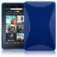 AMAZON KINDLE FIRE TPU GEL SKIN CASE - BLUE, WITH MICROFIBRE CLEANING CLOTH