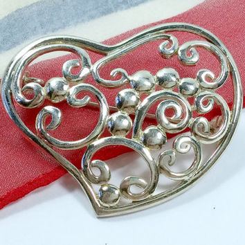 Vintage Sterling Silver Heart Brooch Sweet Stylized Heart With an Open Air Style, With Curls and Curly-Q's Can Be Worn As Slide Pendant Too