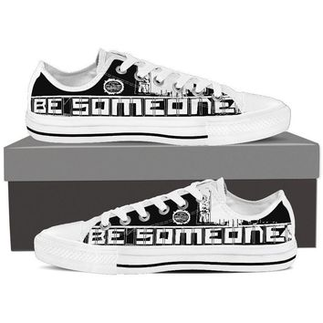 "Men's White Low Top ""Be Someone"" Shoes"