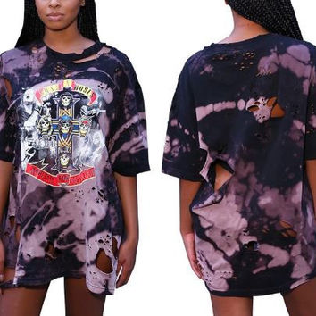 Guns and Roses Distressed Bleached Oversized T Shirt
