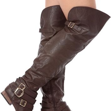 Dark Brown Faux Leather Over the Knee Riding Women's Boots