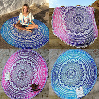 Indian Mandala Round Tapestry Wall Hanging Beach Throw Towel Yoga Mat Boho Decor