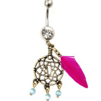 14G Pink Feather Dream Catcher Navel Barbell