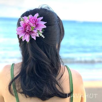 Peony Purple Hawaiian Flower Hair Clip