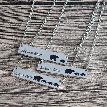 Mother and Child Bear Tag Engraved Animal Pendant Necklace