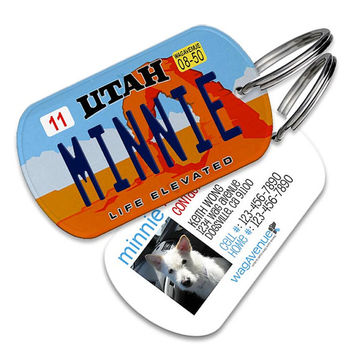 Utah License Plate Pet Tag - Personalized Pet ID Tags, Custom Dog Tags, Cat ID Tag, Dog Name Tags, Dog Tags for Dogs, Collar Tag