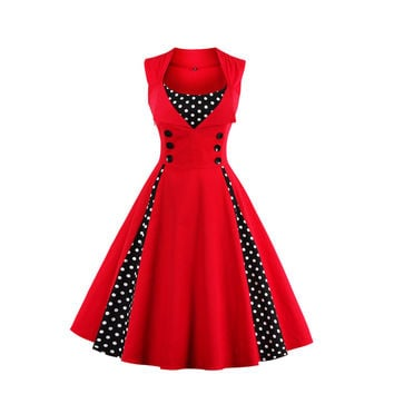 5XL Plus Size 2017 New 50s  60s Retro Vintage Dress Audrey Hepburn Sleeveless Spring Summer Party Patchwork Red Women Dress