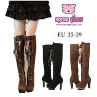 Black/Brown Winter Over Knees Long Boots Frye Boots SP141600