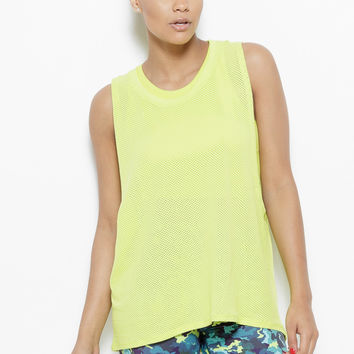 August Mesh Sleeveless Tank Top- Chartreuse