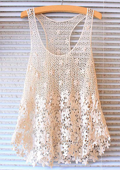 Flower Lace Knitting Pattern : Floral Lace Knit Tank Top from Hello Styles Tops