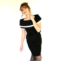 Little Black Dress. Vintage Couture Dress by Scaasi. 60s Black and White Evening Dress. Mad Men Fashion. Wiggle Dress.