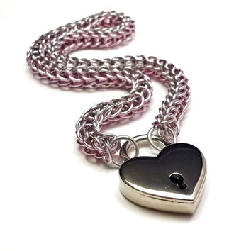 Slave Collar with Heart Lock Rose Pink and Silver Persian Chainmail Choker