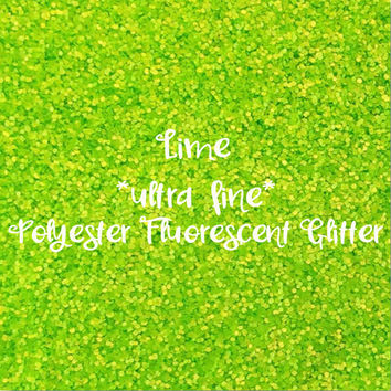 LIME GREEN polyester FLUORESCENT Glitter | ultra fine glitter | 1oz - 2oz - 4oz - 8oz | glitter dipped | nail art | nail polish