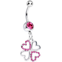 Pink Gem Lucky in Love Clover Dangle Belly Ring | Body Candy Body Jewelry