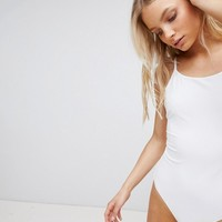 Weekday High Neck Scoop Back Swimsuit at asos.com