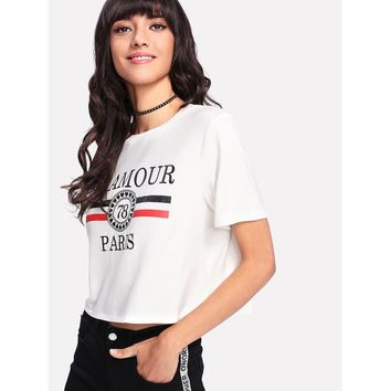 Crop Graphic T-shirt White