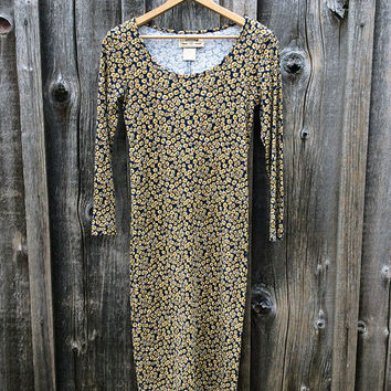 90s Sunflower Maxi Dress with Long Sleeves  |  US Women's XS Small  |  Grunge Floral Print Long Sleeve Bodycon Dress
