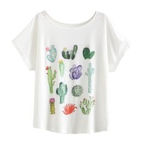 Women Desert Cactus Print T Shirts Short Sleeve