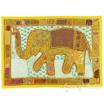 "45"" Yellow Elephant Embroidery Patchwork Runner Wall Hanging Tapestry"