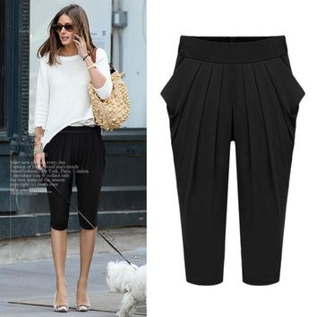 Summer New Style  Women's Dress Elastic Waist All Matched Pants Casual Pants Fashion Cropped Pants