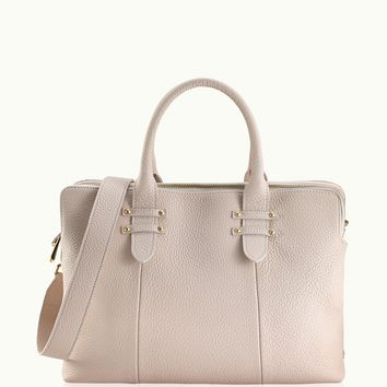 GiGi New York Parker Satchel Ivory Pebble Grain Leather